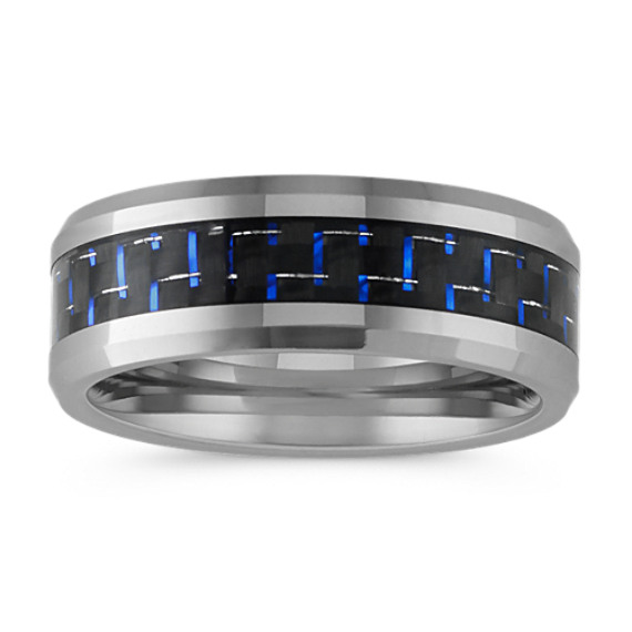 Max-T Comfort Fit Titanium Ring with Blue Accent (8mm)