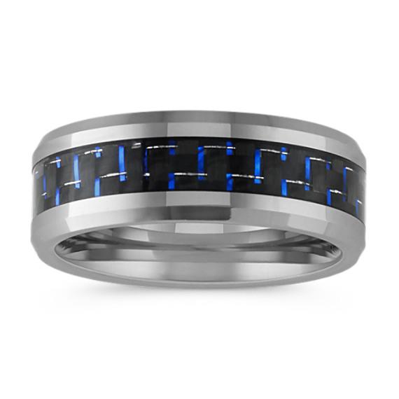 Max-T Comfort Fit Titanium Ring with Blue Accent (8mm)