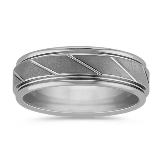 Max-T Engraved Titanium Comfort Fit Ring with Brushed Finish (7mm)