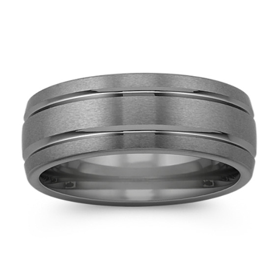 Max-T Line Engraved Titanium Comfort Fit Ring (8mm)