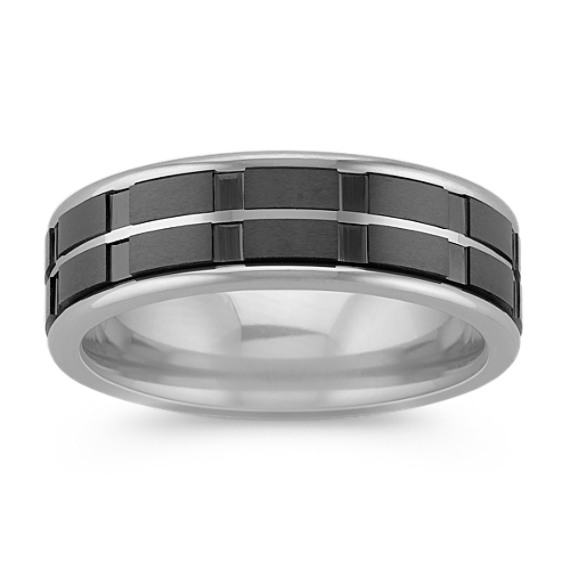 Max-T Titanium Comfort Fit Ring with Black Ceramic Accent (7mm)