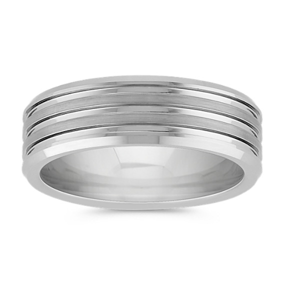 Max-T Titanium Comfort Fit Ring with Engraved Lines (7mm)
