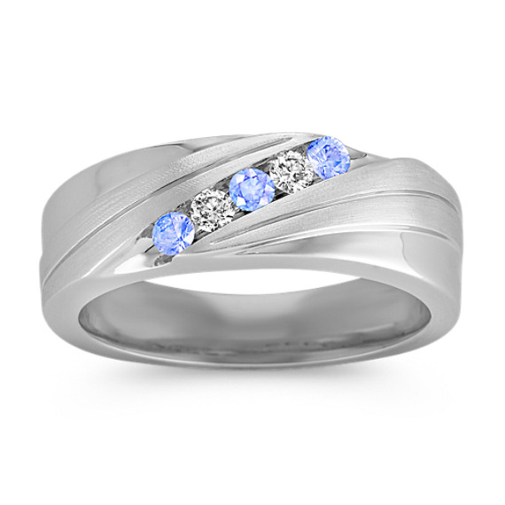Mens Round Diamond and Ice Blue Sapphire Ring with Channel Setting