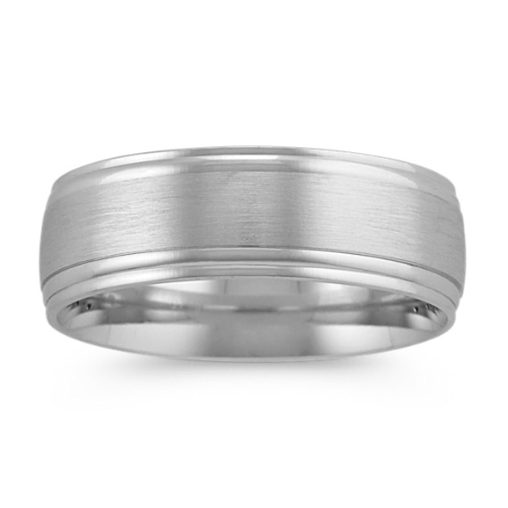 Mens Wedding Band in 14k White Gold (7mm)