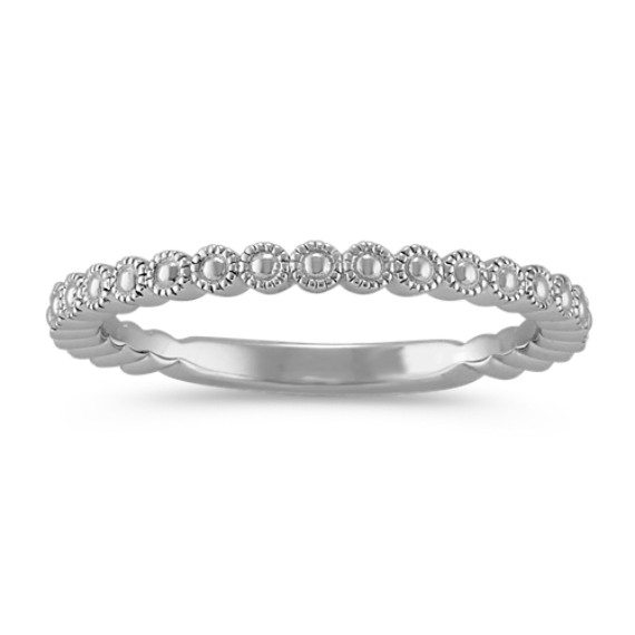 Milgrain Detailed Sterling Silver Stackable Ring