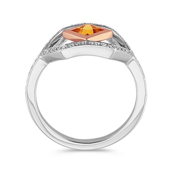 Modern Orange Sapphire Ring in 14k Two-Tone Gold image