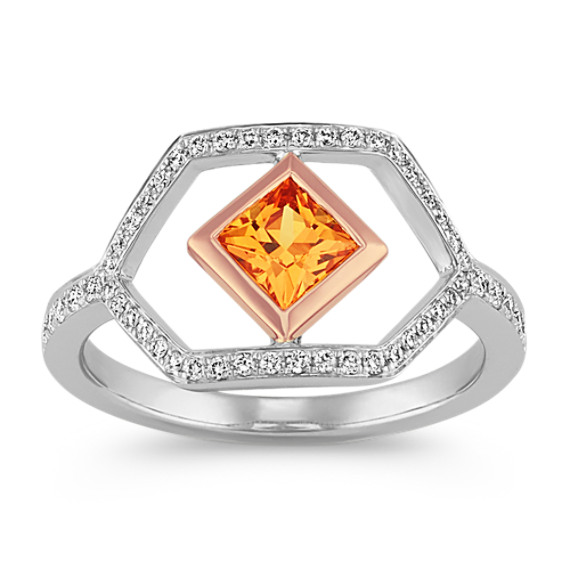 Modern Orange Sapphire Ring in 14k Two-Tone Gold