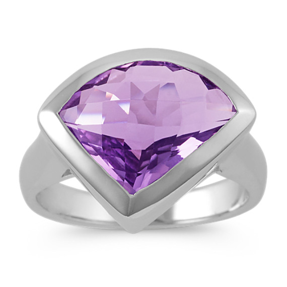 Modified Trillion Amethyst and Sterling Silver Ring