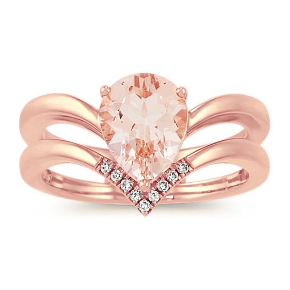 Morganite and Diamond V Ring