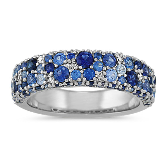 Mosaic Blue Sapphire & Diamond Ring (4mm)