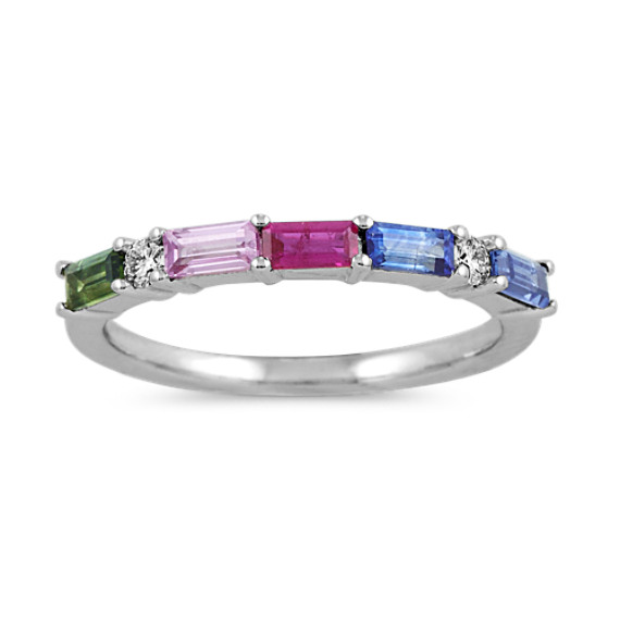 Multi-Colored Baguette Sapphire Ring in 14k White Gold