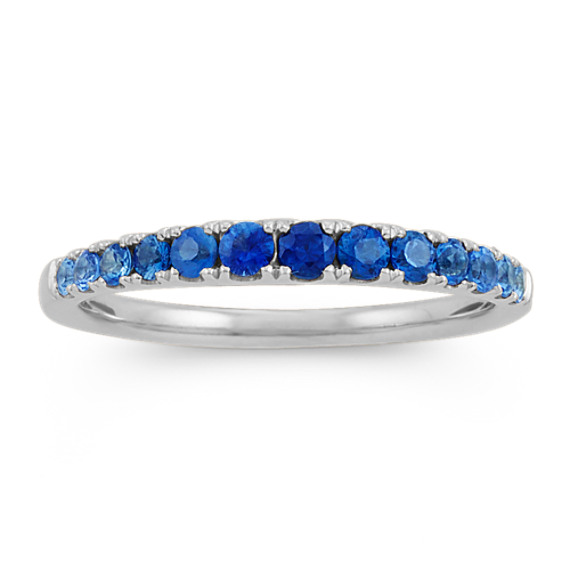 Multi-Colored Blue Sapphire Ring in 14k White Gold