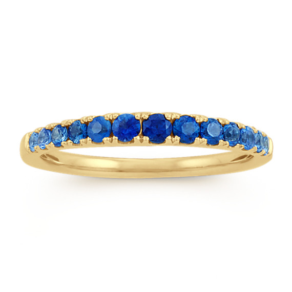 Multi-Colored Blue Sapphire Ring in 14k Yellow Gold