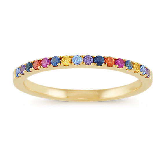 Multi-Colored Sapphire Rainbow Ring in 14k Yellow Gold