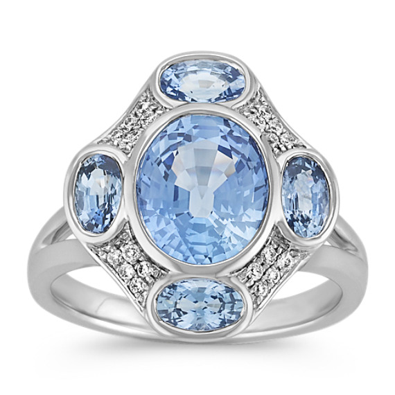 Multiple Oval Ice Blue Sapphires and Round Diamond Ring