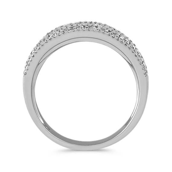 Nine Row Round Diamond Ring in 14k White Gold image