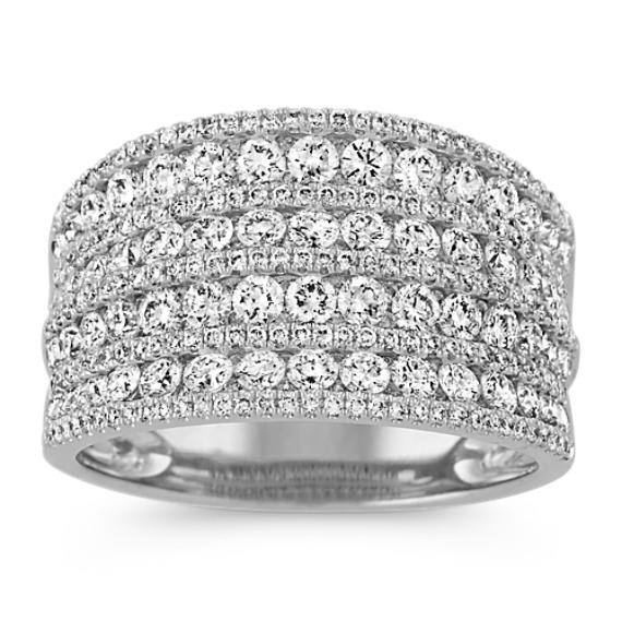 Nine Row Round Diamond Ring in 14k White Gold