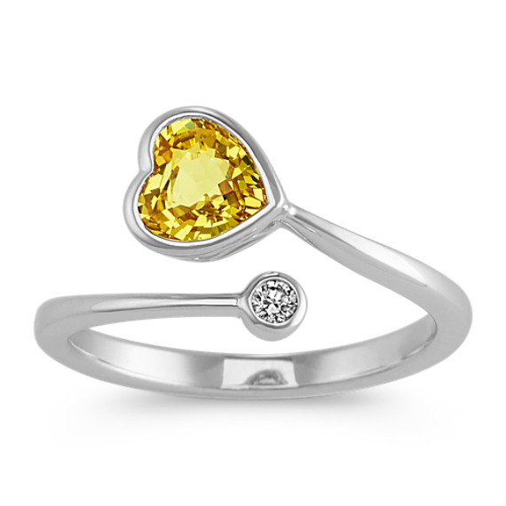 Open Heart-Shaped Yellow Sapphire and Diamond Ring