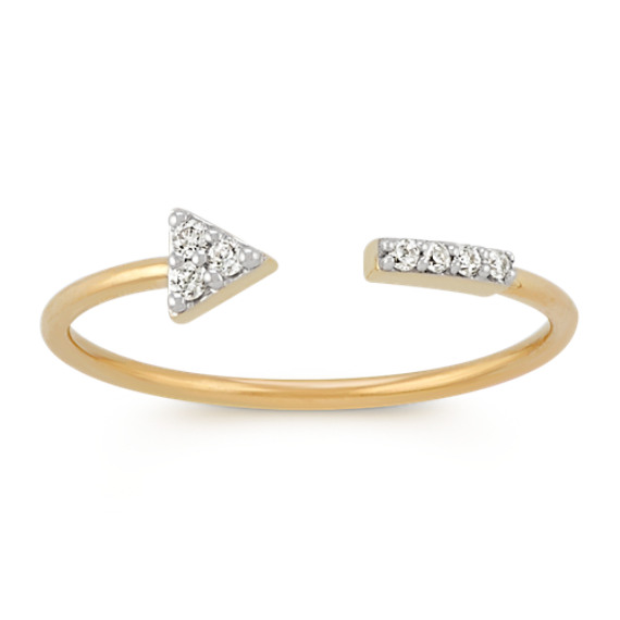 Open Round Diamond Arrow Ring in 14k Yellow Gold