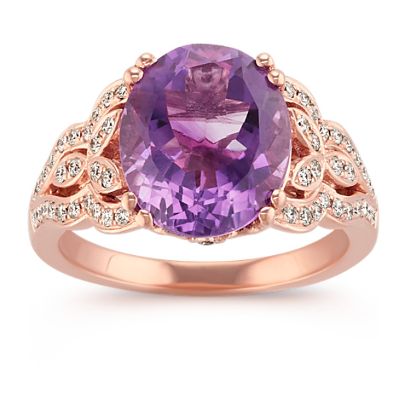 Oval Amethyst and Round Diamond Vintage Ring in 14k Rose Gold