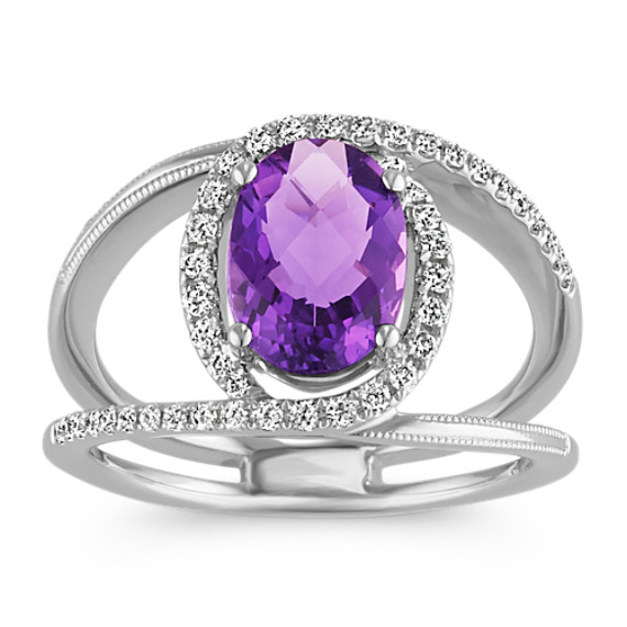Oval Amethyst and Swirling Round Diamond Ring