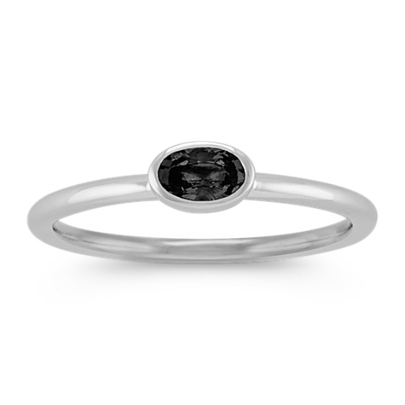 Oval Black Sapphire Stackable Ring in 14k White Gold
