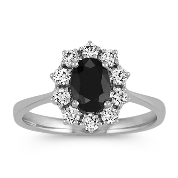 Oval Black Sapphire and Round Diamond Ring