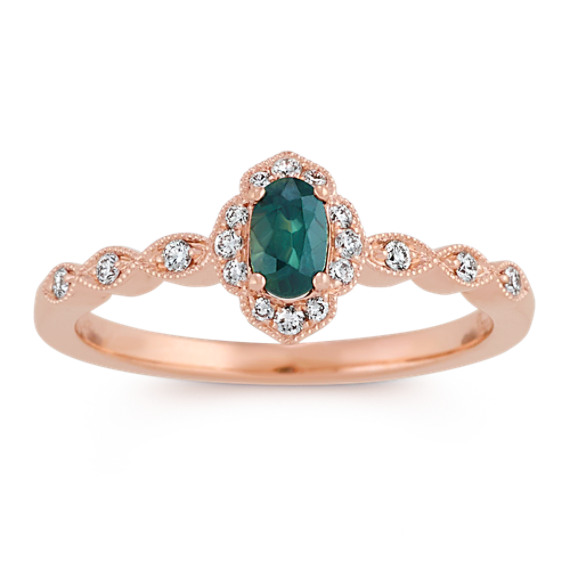 Oval Blue Green Sapphire and Diamond Vintage Ring