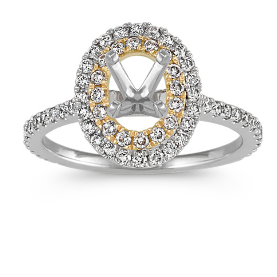 Oval Double Halo Engagement Ring in 14k Two-Tone Gold
