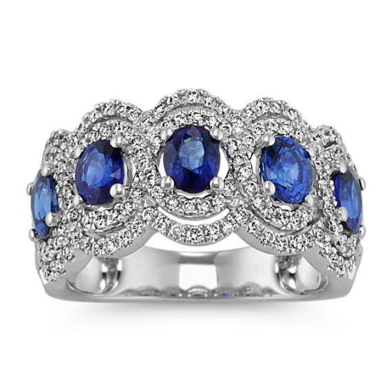 Oval Five-Stone Traditional Sapphire and Diamond Ring