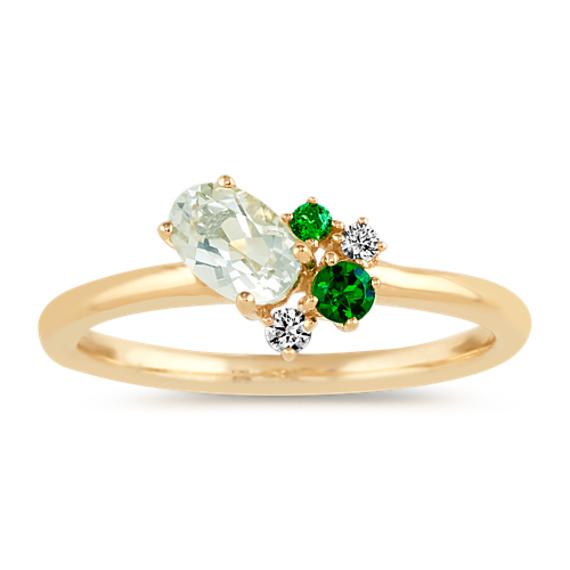 Oval Green Prasiolite, Tsavorite Garnet and Diamond Ring