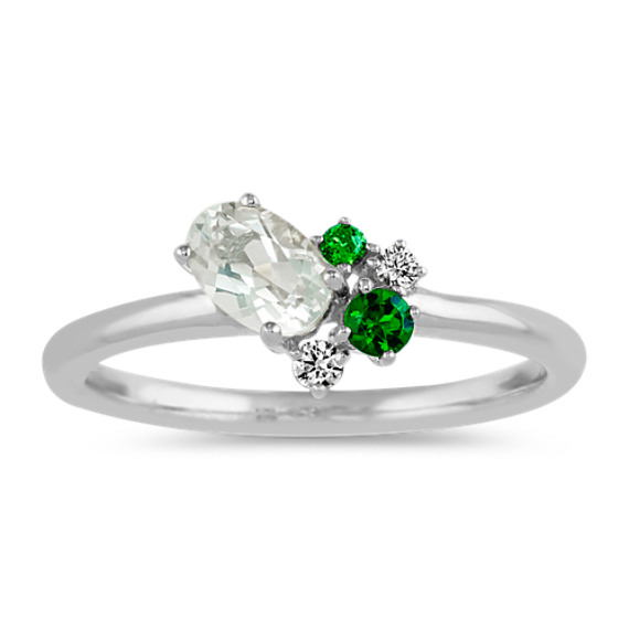 Oval Green Quartz, Chrome Diopside and Diamond Ring