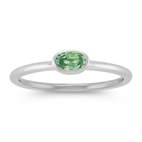 Oval Green Sapphire Stackable Ring in 14k White Gold