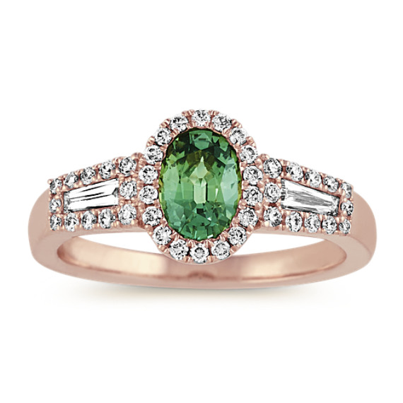 Oval Green Sapphire and Baguette Diamond Ring