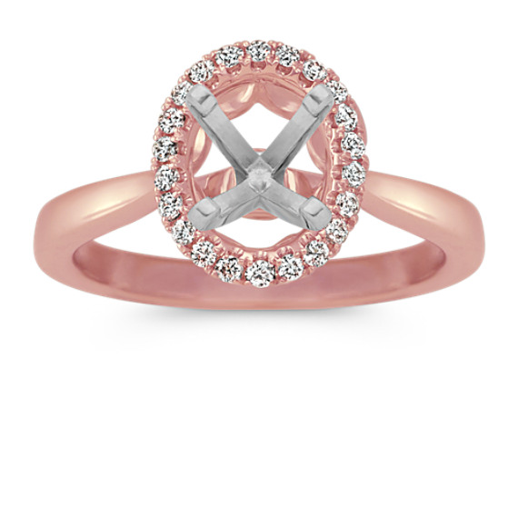 Oval Halo Diamond Engagement Ring 14k Rose Gold