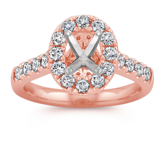 Oval Halo Diamond Engagement Ring in 14k Rose Gold