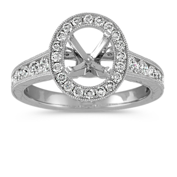 Oval Halo Diamond Vintage Engagement Ring