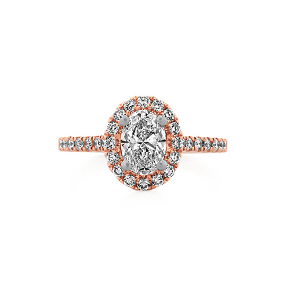 Oval Halo Engagement Ring In 14k Rose Gold With Round Diamond