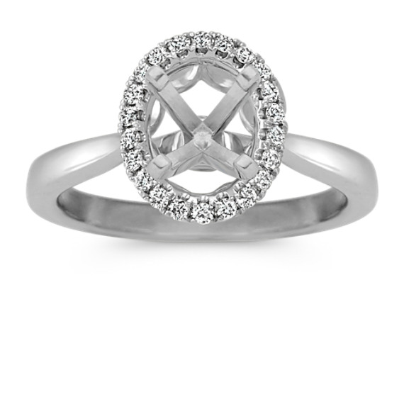 Oval Halo Engagement Ring with Round Diamond Accent