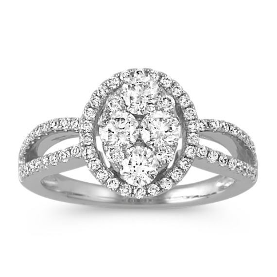 Oval Halo Round Diamond Cluster Ring