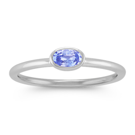 Oval Ice Blue Sapphire Stackable Ring in 14k White Gold