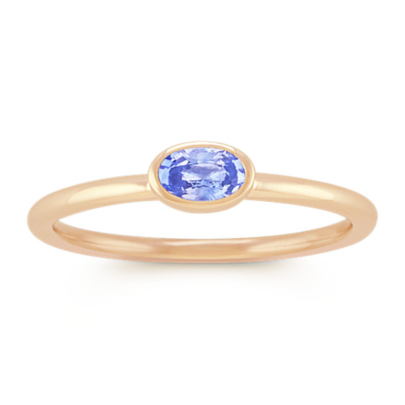 Oval Ice Blue Sapphire Stackable Ring in 14k Yellow Gold