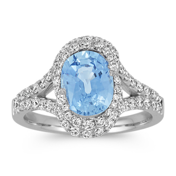 Oval Ice Blue Sapphire and Round Diamond Ring with Pave-Setting