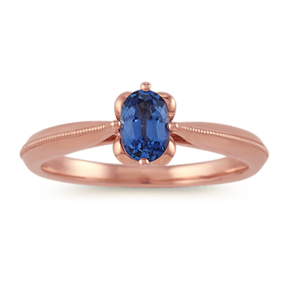 Oval Kentucky Blue Sapphire Ring in 14k Rose Gold