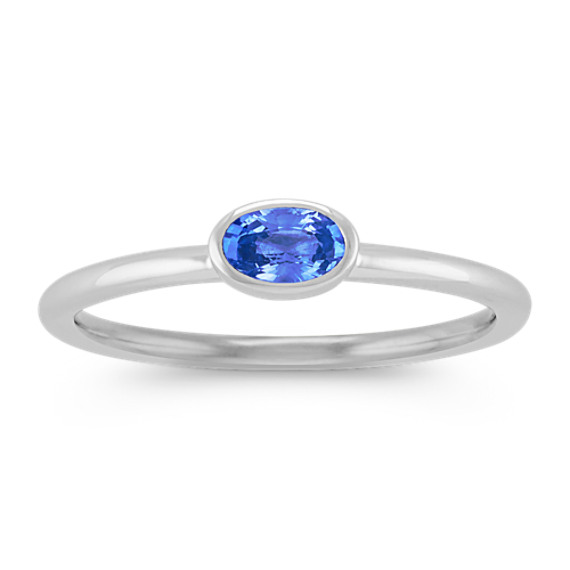 Oval Kentucky Blue Sapphire Stackable Ring in 14k White Gold