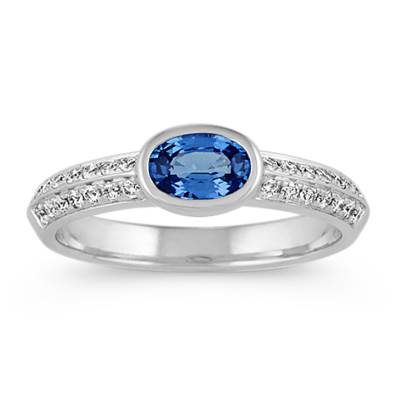 Oval Kentucky Blue Sapphire and Diamond Ring