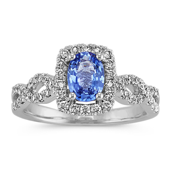 Oval Kentucky Blue Sapphire and Round Diamond Infinity Ring