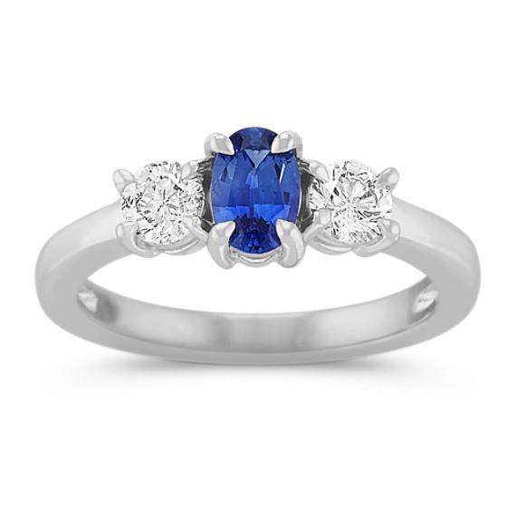 Oval Kentucky Blue Sapphire and Round Diamond Three-Stone Ring