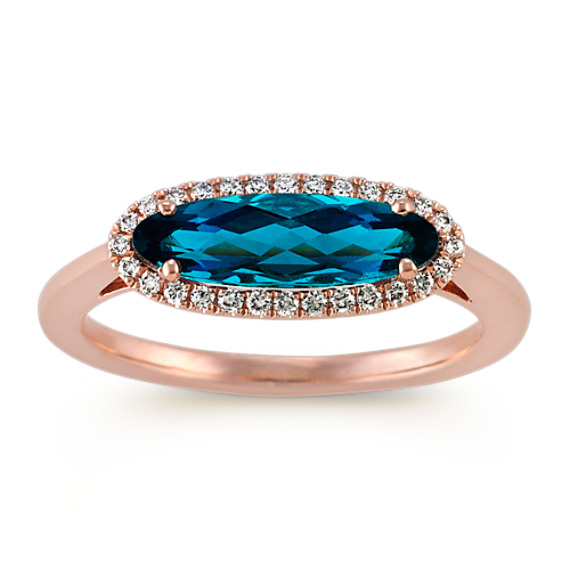Oval London Blue Topaz And Diamond Ring In 14k Rose Gold Shane Co
