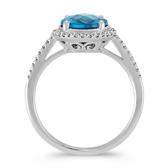 Oval London Blue Topaz and Round Diamond Halo Ring image